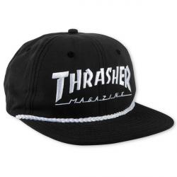 CASQUETTE THRASHER CAP ROPE LOGO - BLACK WHITE