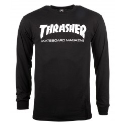 THRASHER TSHIRT LONG SLEEVE SKATE MAG - BLACK