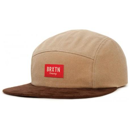 BRIXTON HOOVER 5 PANEL- TAN BROWN