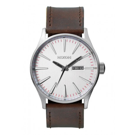 MONTRE NIXON SENTRY LEATHER - SILVER/BROWN