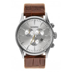 MONTRE NIXON SENTRY CHRONO LEATHER - SADDLE GATOR