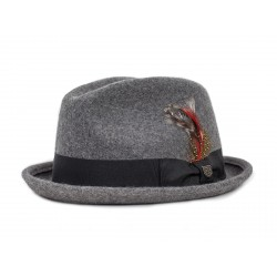 CHAPEAU BRIXTON GAIN FEDORA - HEATHER GREY