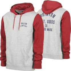 HOODIE BRIXTON WOODBURN - HEATHER GREY/BURGUNDY