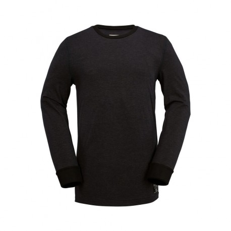 FIRST LAYER VOLCOM WOOL BASE LAYER CREW - HEATHER BLACK