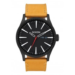 MONTRE NIXON SENTRY LEATHER - ALL BLACK / GOLDENROD