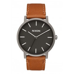 MONTRE NIXON PORTER LEATHER - GUNMETAL CHARCOAL TAUPE