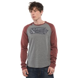 TEE SHIRT ELEMENT BASEBALL LONG STEEVE - OXBLOOD RED HEATHER