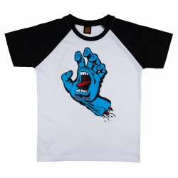 T-SHIRT SANTA CRUZ YOUTH SCREAMING HAND RAGLAN - BLACK WHITE