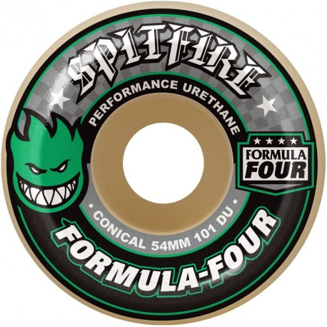 ROUES SPITFIRE FORMULA FOUR 101D CONICAL 54MM - GREEN PRINT