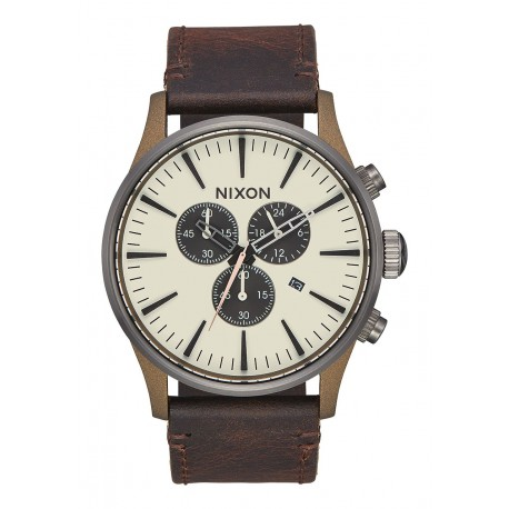 MONTRE NIXON SENTRY CHRONO LEATHER - BRONZE / GUNMETAL