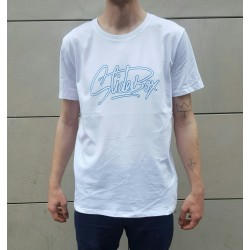 T-SHIRT SLIDEBOX SIGNATURE - BLANC / BLEU