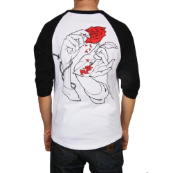 T-SHIRT JACKER RAGLAN HOLY ROSES - WHITE BLACK