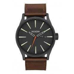MONTRE NIXON SENTRY LEATHER - BLACK LUM TAUPE