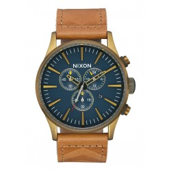 MONTRE NIXON SENTRY CHRONO LEATHER - BRASS NAVY HICKORY