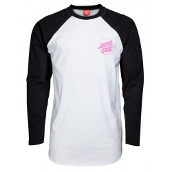 T-SHIRT SANTA CRUZ LS - PARTY HAND BASEBALL - BLACK/WHITE