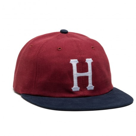 CASQUETTE HUF CLASSIC H 6P BEFORD CORD - NAVY/HENNA