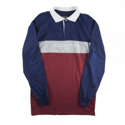 POLO MAGENTA PARIS LS - TRICOLOR