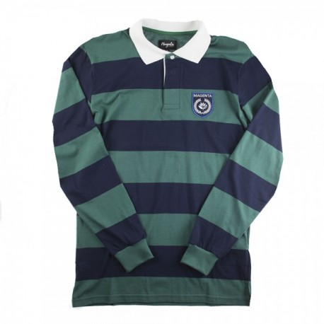 POLO MAGENTA RUGBY LS - NAVY / GREEN