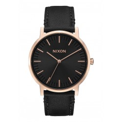 MONTRE NIXON PORTER LEATHER ROSE GOLD / BLACK