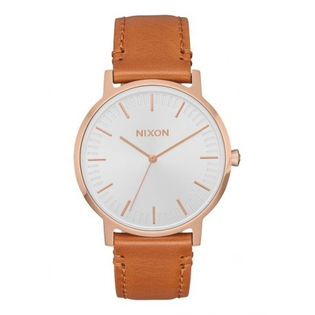 MONTRE NIXON PORTER LEATHER - ROSE GOLD / WHITE / SADDLE
