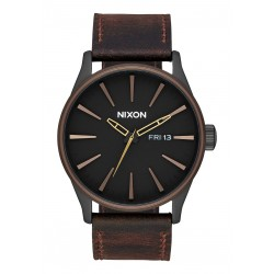 MONTRE NIXON SENTRY LEATHER - ALL BLACK / BROWN / BRASS