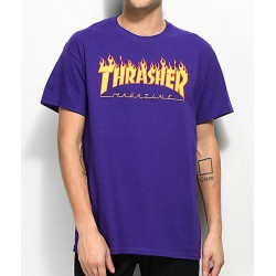 T-SHIRT THRASHER FLAME - PURPLE