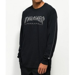 T-SHIRT THRASHER LS WEB LOGO - BLACK