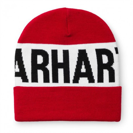 BONNET CARHARTT SHORE BEANIE - FIRE RED / WHITE