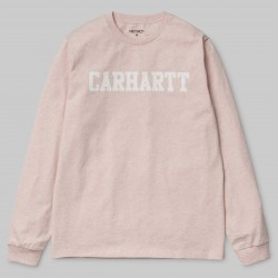 T-SHIRT CARHARTT WIP COLLEGE L/S - SANDY ROSE WHITE