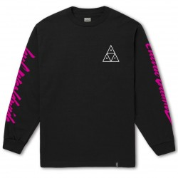 T-SHIRT HUF LS NIGHT CALL TRIPLE TRIANGLE - BLACK