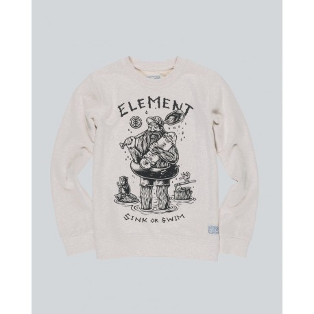 PULL ELEMENT KID RIVER KEEPER CREW - OATMEAL HEATHER