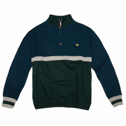 SWEAT MAGENTA NECK ZIP CLUB - DUO NAVY / GREEN / HEATHER GREY