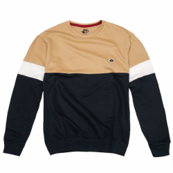 SWEAT MAGENTA CREWNECK BRODE - DUO BEIGE / NAVY / HEATHER GREY