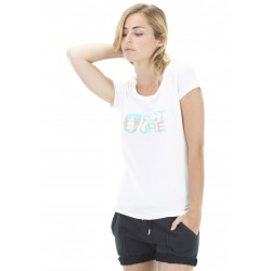 T-SHIRT PICTURE ORGANIC BASEMENT PALM WMN - WHITE