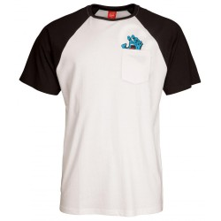 T-SHIRT SANTA CRUZ SCREAMING POCKET RAGLAN - BLACK / WHITE