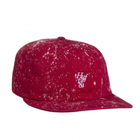CASQUETTE HUF SPLATTERED BLEACH CURVED VISOR - RED
