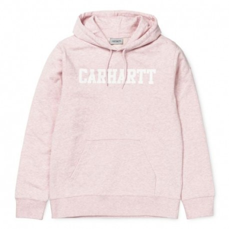 SWEAT CARHARTT WIP HOODED COLLEGE - SANDY ROSE HEATHER WHITE