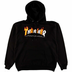 SWEAT THRASHER HOOD FLAME MAG - BLACK