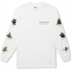 T-SHIRT HUF 420 TROPICAL PLANTS L/S - WHITE