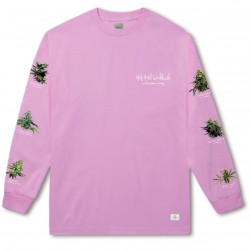T-SHIRT HUF 420 TROPICAL PLANTS L/S - PINK