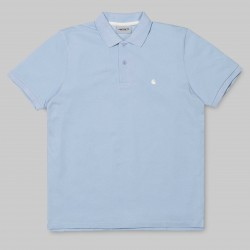POLO CARHARTT WIP C-LOGO -SOFT BLUE / WAX