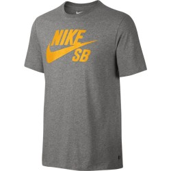 T-SHIRT NIKE SB LOGO DRY FIT - DK GREY HEATHER LASER ORANGE