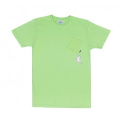 T-SHIRT RIPNDIP HANG IN THERE POCKET TEE - LIME