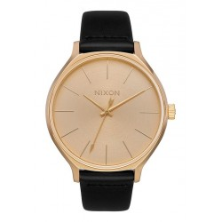 MONTRE NIXON CLIQUE LEATHER ALL GOLD / BLACK