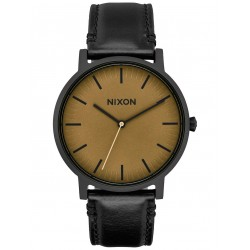 MONTRE NIXON PORTER LEATHER BLACK / MATTE SAGE BLACK