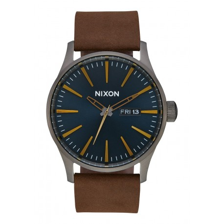 MONTRE NIXON SENTRY LEATHER - GUNMETAL / INDIGO /BROWN
