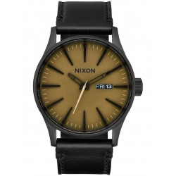 MONTRE NIXON SENTRY LEATHER - BLACK / MATTE SAGE /BLACK