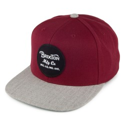 CASQUETTE BRIXTON WHEELER SNAPBACK - BURGUNDY / HEATHER GREY