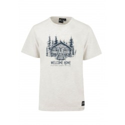 T-SHIRT PICTURE WOOD CABIN - BEIGE
