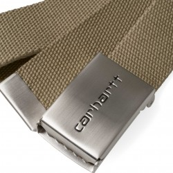 CEINTURE CARHARTT WIP CLIP BELT CHROME - LEATHER